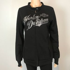 Harley-Davidson Black Zip Up Jacket Sweater
